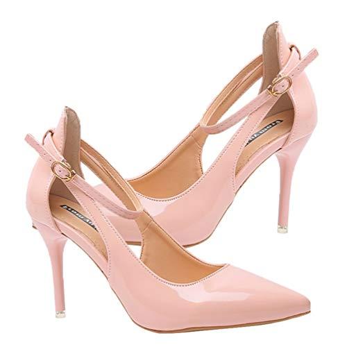 Holibanna Sommersandale Schuhe High Heel Stiletto Sandalen Höcker Schuhe Schnalle Schnürsenkel Sandalen für Frauen Weibliche Dame Täglich Rosa