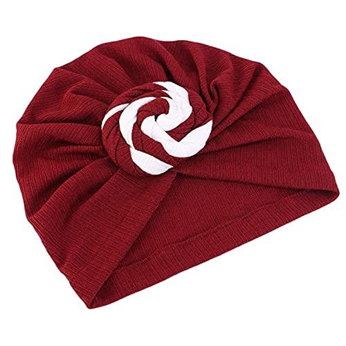 ETSK - Gorro de turbante para mujer, estilo bohemio, estilo fresco, con nudo en espiral, color sólido, gorro de pelo musulmán