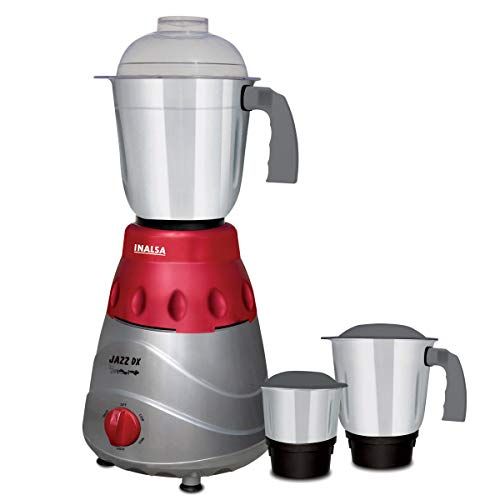 Inalsa Jazz Dx 780-Watt Mixer Grinder with 3 Jars, (Grey/Maroon)