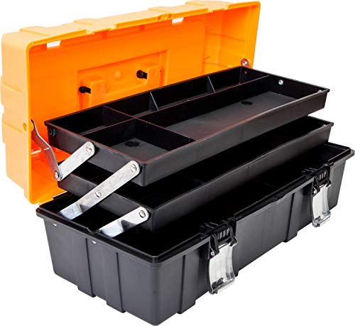 Torin ATRJH3430T 17quot Plastic 3Layer MultiFunction Storage Tool Box with Tray and Dividers Black/Orange