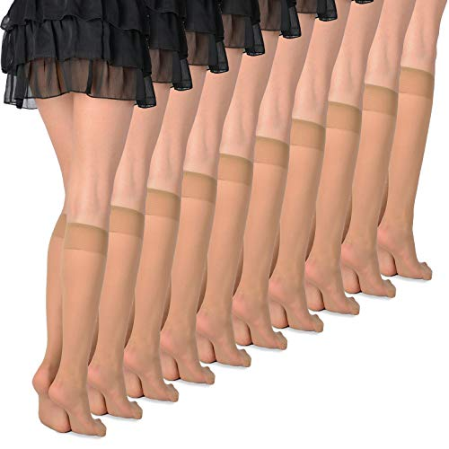 Women's 10 Pairs Knee High Pop Socks 20 Denier by Romartex, beige