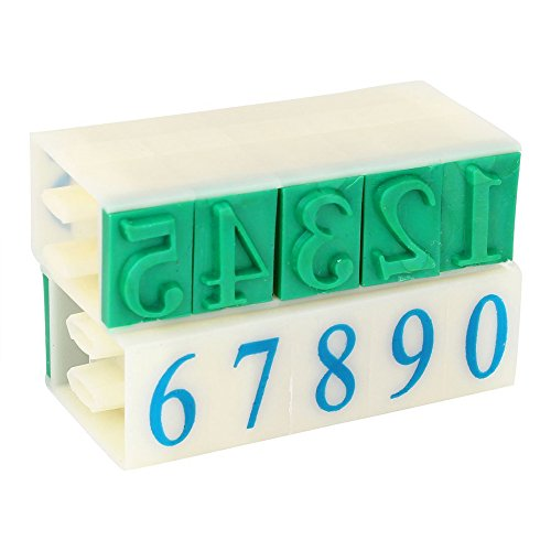 Kcopo Gummikopf 10 Ziffern arabische Ziffern Kombinationsblock Stempel Kunststoff Gummi 0–9 Ziffern arabische Ziffern Stempel Grün 18 mm x 11 mm