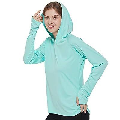 MIER Women's UPF 50+ Sun Protection Hoodie Shirt Long Sleeve Outdoor UV Shirt Running Hiking Tee Shirt, Quick Dry, Aqua, L