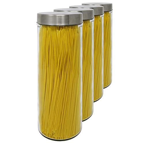 Kristal Pack 4 Bocaux en Verre, 1,77 L (31x10 cm), avec Couvercle Fileté en Acier Inoxydable.