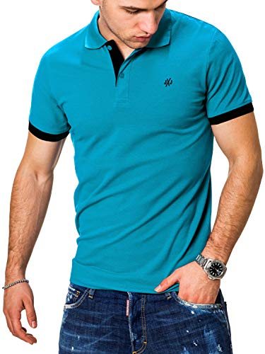 JACK & JONES Herren Poloshirt Polo Polohemd Kurzarmshirt Shirt Basic (XL, Hawaiian Ocean/Black)