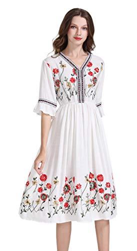 shineflow Damen Frauen Vintage Sommerkleider Kleid Mexikanischen Ethnischen Bestickt Minikleid Blume Stickerei Kleid (L, Weiß 2)