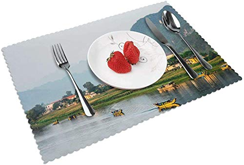 Riverside Village Placemat Table Mat, 12' x 18' Polyester Table Place Mat for Kitchen Dining Room Set of 4