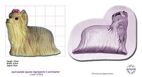 Moule en silicone pour décoration de gâteau et de tête de chien, YORKSHIRE TERRIER Medium