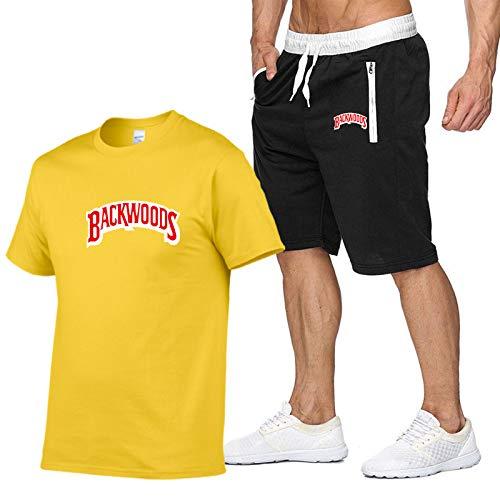 GIRLXV Camisa De Hip-Hop para Hombre Backwoods Camiseta Estampado De Letras Tendencia Camiseta De Manga Corta Traje Deportivo Informal S
