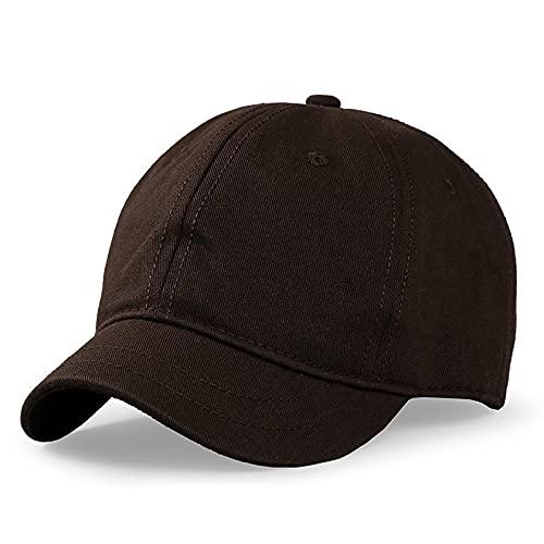 Gorra de béisbol de color sólido con ala pequeña, sombrero para el sol de verano para hombres y mujeres, gorra ecuestre de ocio al aire libre, gorras deportivas de gran tamaño, 55-63 cm (marrón)