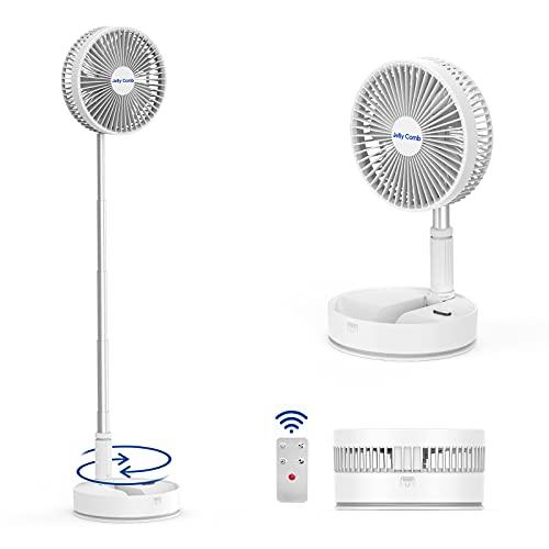 Jelly Comb Ventilador giratorio con mando a distancia, ventilador de mesa silencioso, ajustable en altura y con 4 velocidades de viento para el hogar, la oficina, el camping y el exterior