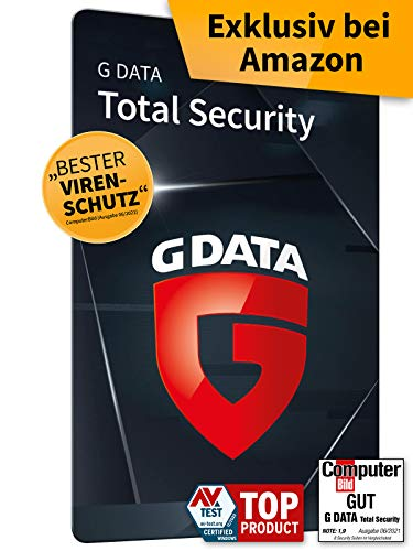 G DATA Total Security 2021, 1 Gerät - 1 Jahr, Aktivierungskarte, Antivirus für Windows, Mac, Android, iOS, Made in Germany - zukünftige Updates inklusive