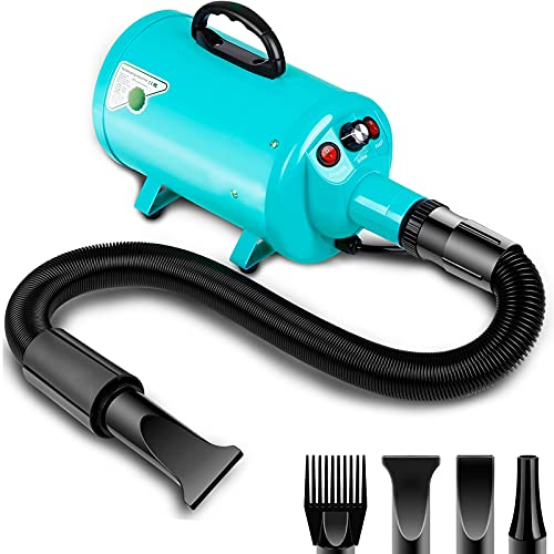 Dog Dryer 2800W/3.8HP, Stepless Speed Large Dog Hair Dryer with Heat, Pet Hair Grooming Dryer Blower Blaster with 4 Nozzle, Adjustable Wind Speed, Blue