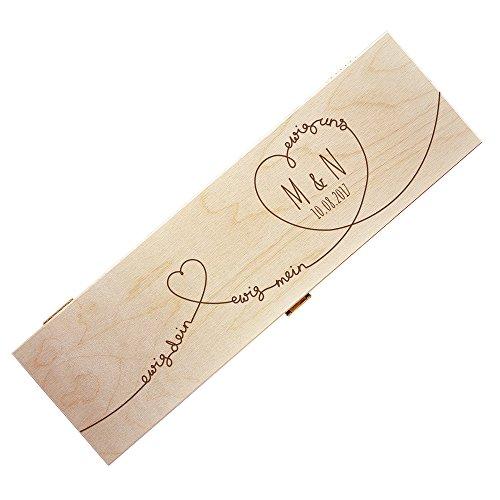 AMAVEL Weinkiste aus Holz mit Gravur, Ewige Liebe, Personalisiert mit Initialen und Datum, Herzmotiv, Verpackung für Weinflaschen