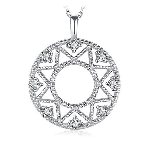 Collar con colgante de moneda con corte milgrain de círculo de cultivo sin cadena, colgante de plata de ley 925, joyería de plata de ley