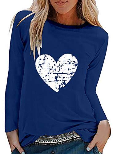 CORAFRITZ Camiseta de manga larga con estampado de corazón para mujer y niña, cuello redondo, ligera