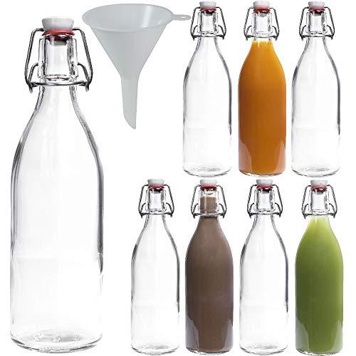 mikken 8 botellas de cristal de 0,5 litros con cierre hermético de porcelana, incluye embudo, transparente