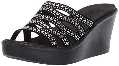 Skechers Women's Rumble UP-Funny Business-High Wedge Rhinestone Sandal, black, 11 M US