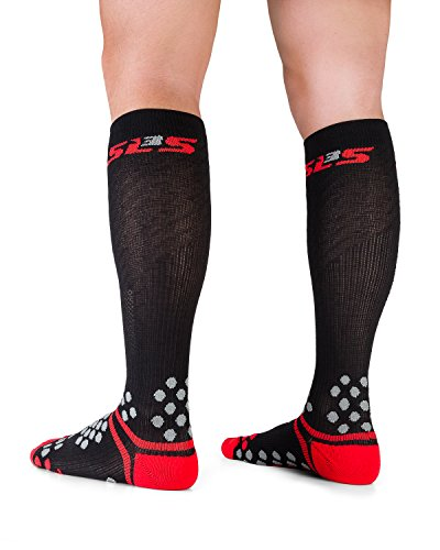 SLS3 Sport Compression Socks | Graduated Athletic Fit Sock | Relieves Shin Splints | Calf Compression For Running, Cycling, Obstacle Racing and Recovery (M/L, Black)