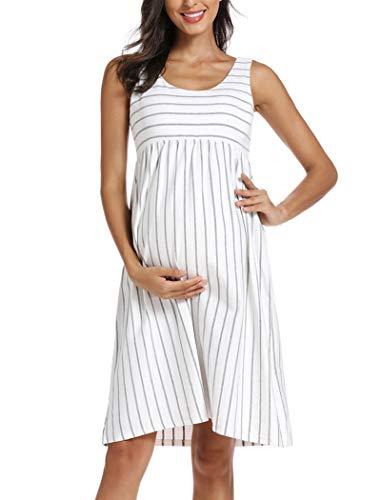 Ecavus Womens Maternity Tank Dress Stripe Color Block Sleeveless Knee Length for Baby Shower