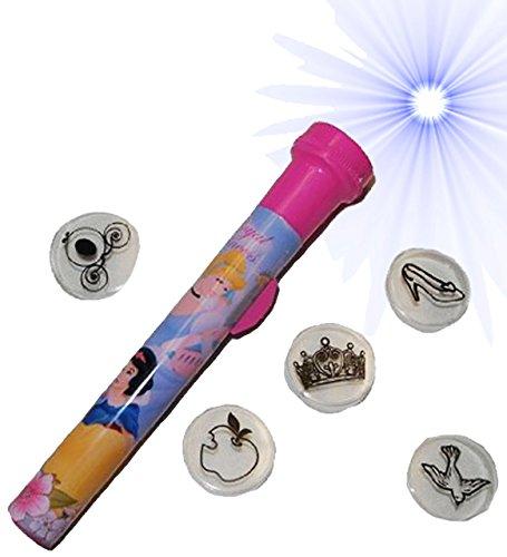 alles-meine.de GmbH Disney Princess  - 6 TLG. Set Taschenlampe - Prinzessin mit 5 verschiedenen - Aufsätzen Kinder Lampe Projektor - Licht Auto Kindertaschenlampe Mädchen Dorn..