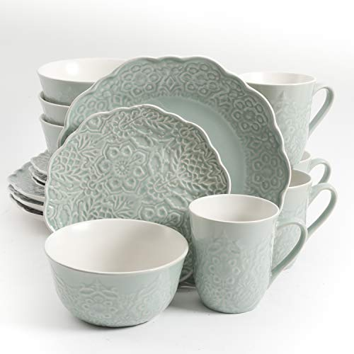 Gibson Elite Portina Round Embossed Reactive Glaze Stoneware Dinnerware Set, Service for Four (16pcs), Celadon