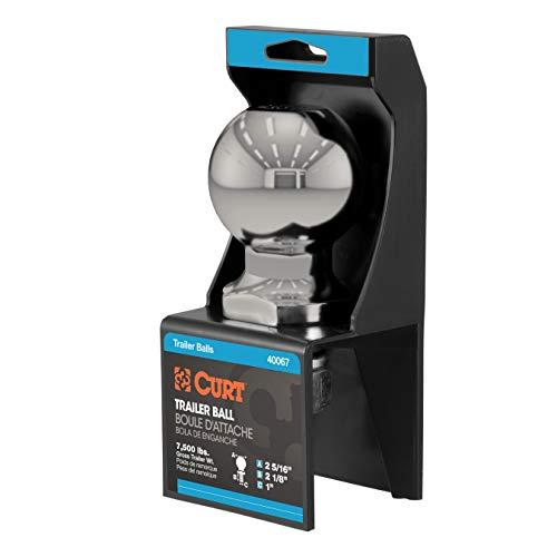 CURT 40084 Stainless Steel Trailer Hitch Ball, 7,500 lbs, 2-5/16-Inch Diameter, 1 x 2-1/8-Inch Shank