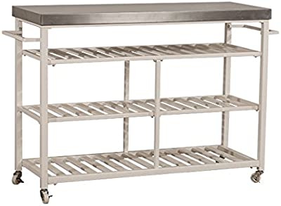 Hillsdale Furniture Kennon Kitchen Cart With Stainless Steel Top, White
