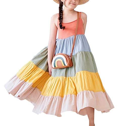 Toddler Baby Girl Summer Boho Rainbow Stripe Spaghetti Strap Beach Sun Dress (Rainbow 11, 4-5T)
