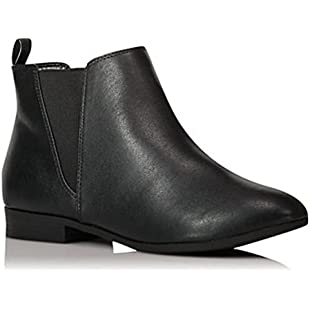 Customer reviews Womens Ladies Faux Leather Suede Chelsea Ankle Boots Black Brown with Pull On Elasticated Tab Low Block Flat Heel & Rounded Toe School Work Size 3 4 5 6 6.5 7 8 9 (UK 6, Black Faux Leather)