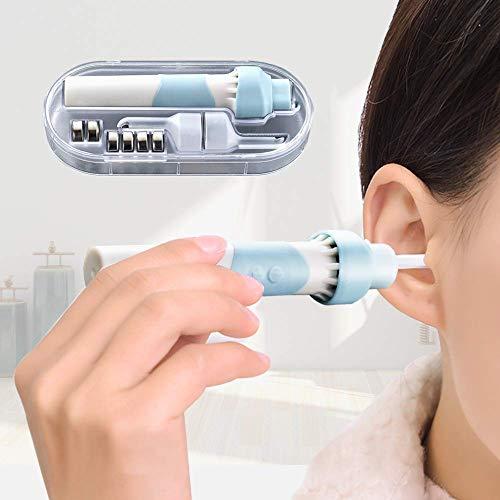 Kemei - Dispositivo di rimozione della cera per le orecchie elettrico con LED sicuro e morbido, kit di rimozione della cera per le orecchie con 2 teste per adulti e bambini, colore: blu