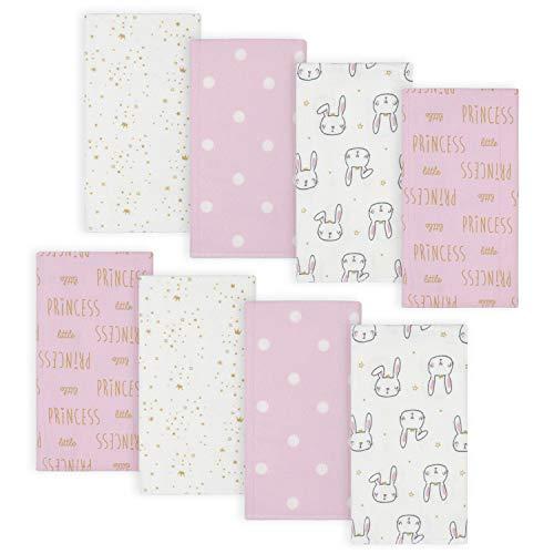 Gerber Baby Girls' 8-Pack Flannel Burp Cloths, Princess Pink, One Size