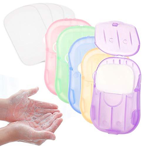 Wanxida 12x Boxen (240 Blätter) Seife Papier Seifenblätter, Einweg Papier Seife Mini Tragbar Paper Soap mit Kunststoffbox für Outdoor, Camping Wandern