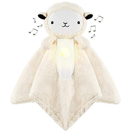 "WavHello LoveBub Sound & Light Baby Security Blanket Lovey, Plush Lullaby Music Player, White Noise Soother & Soft Night Light, Machine Washable - Lou The Lamb (White Minky, 18"")"