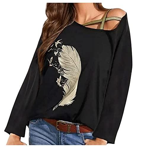Briskorry Dames veren bedrukt shirt met lange mouwen One Shoulder sexy bovenstuk casual los sweatshirt oversized pullover lange mouwen blouse hemd top T-shirt