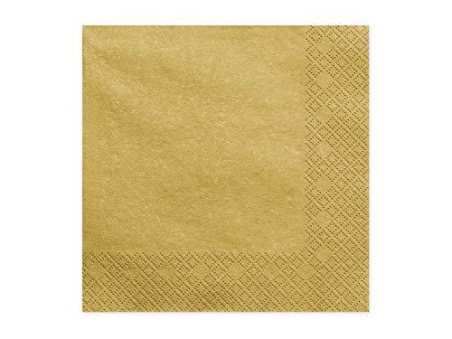 20 Servietten 33x33cm Gold Metallic // Deko Napkins Ornament Tischdeko Hochzeit Kommunion