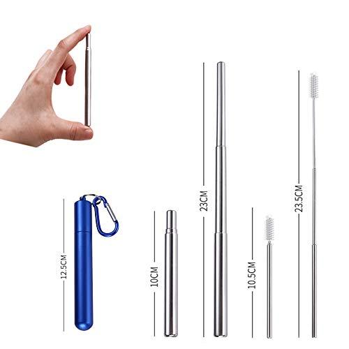 Pailles télescopiques réutilisables - Pailles à boire portables en acier inoxydable avec brosse de nettoyage, étui et mousqueton(Bleu)