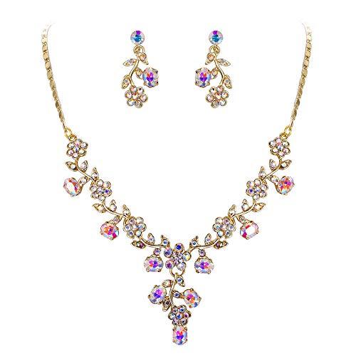 EVER FAITH Österreichische Kristall Hochzeit Blume Blatt Halskette Ohrringe Set Iridescent Klar AB Gold-Ton