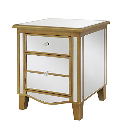 Convenience Concepts Gold Coast Collection Park Lane Mirrored End Table, Gold