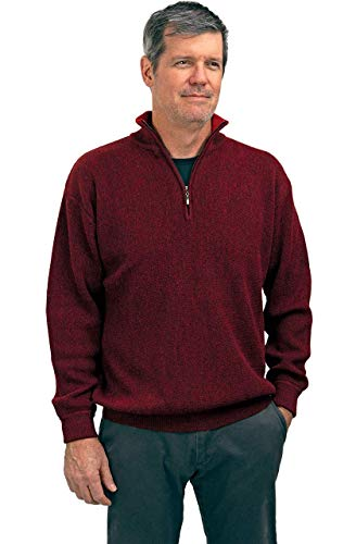 Alpaca Golf Sweaters - 100% Alpaca Wool Men's Performance Club Quarter Zip Neck Pullover SweaterNEW (Pomegranate/Red, Medium)