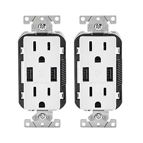 Leviton T5632-2PK USB Charger/Tamper-Resistant Duplex Receptacle, 15-Amp, 2-Pack, White