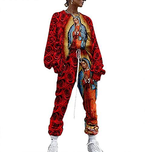 Conjunto de chándal con teñido Anudado de la Señora de Guadalupe para Mujer, Conjunto de 2 Piezas de Camisetas y Pantalones con gráficos de Nuestra Señora de Guadalupe Retro de México