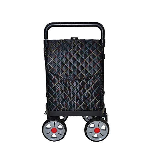 Negro carro Ir plegable Compras del cargador del coche carro con ruedas de / en las cuatro ruedas de dirección de tubería de acero de cinco velocidades telescópica coche de las compras de viaje del eq