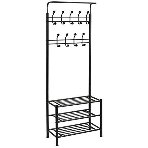 Mediawave Store - Perchero con 3 estantes con zapatero para entrada o pasillo, con 18 ganchos, banco perchero (negro)