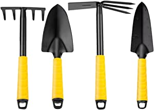 Garden Tools Set,4 Piece Heavy Duty Gardening Tools Kit,Iron Carbide Alloy Garden Hand Shovels Including 2-In-1 Cultivator Hand Rake/Hoe,Fork&Trowel for Digging,Planting and Transplanting (Packing B)