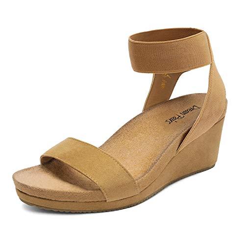 DREAM PAIRS Women's Camal Open Toe Elastic Ankle Strap Platform Wedge Sandals Size 8 M US Nini-5