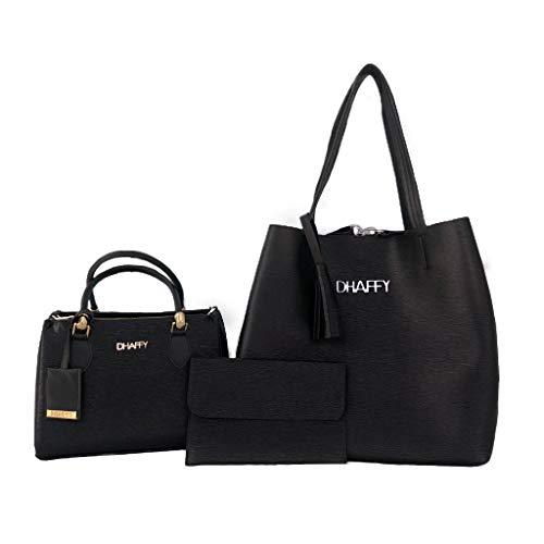 Kit com 2 Bolsa Feminina Saco, Baú Com Carteira Preto. cor:preto;tamanho:G