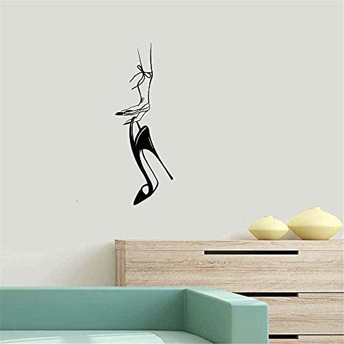 Calcomanías de pared mujer mano zapatos de tacón de aguja para niñas nail art mural pegatinas salón de uñas vinilo moda cartel moderno calcomanías-91X33cm-74x27cm