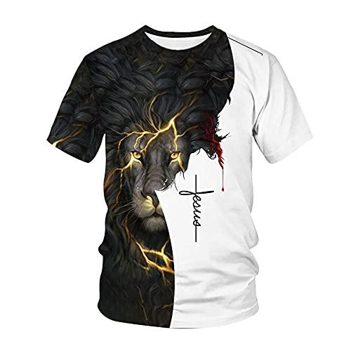XIELH Camisetas Manga Corta Hombre 3D Camiseta Impresa Casual Creativo De Algodón Cuello Redondo Talla Extra Camisas para El Hombre-3_XXS_