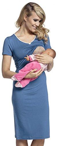Happy Mama. para Mujer Camisón Premamá Embarazo Lactancia Mangas Cortas. 274p (Azul Jeans,...